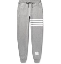 Thom Browne Tapered Striped Loopback Cotton Jersey Sweatpants Light Gray