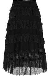 Philosophy Di Lorenzo Serafini Lace Trimmed Tiered Cotton Blend Mesh Skirt Black