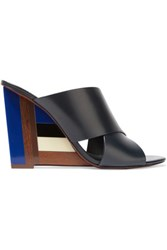 Tory Burch Leather And Perspex Wedge Mules Black