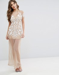 Maya Nude Mesh Maxi Dress With Embellishment Cream Nude
