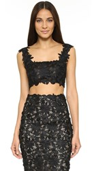 Monique Lhuillier Sleeveless Crop Top Noir