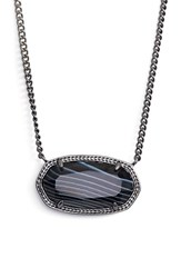 Women's Kendra Scott 'Dylan' Stone Pendant Necklace Gunmetal Black Banded Agate