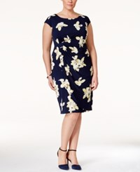 Connected Plus Size Cap Sleeve Floral Print Sheath Dress Navy Yellow
