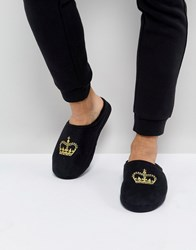 Asos Slip On Slippers In Black With Crown Embroidery Black