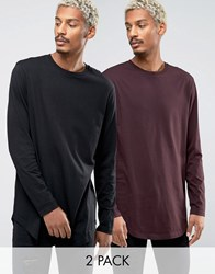Asos Longline Long Sleeve T Shirt With Curve Hem 2 Pack Red Multi