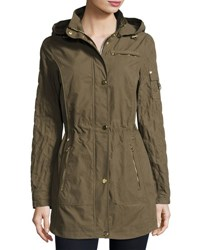 Laundry By Shelli Segal Brushed Cotton Anorak Jacket Green