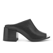Maison Martin Margiela Mm6 Women's Open Toe Slip On Block Heel Shoes Black