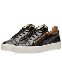 Giuseppe Zanotti Croc Embossed Double Zip Low Sneaker Black