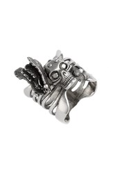 Alexander Mcqueen Women's Skull And Butterfly Ring Silver