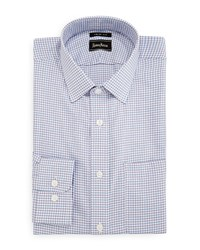 Neiman Marcus Trim Fit Regular Finish Square Pattern Dress Shirt Multi