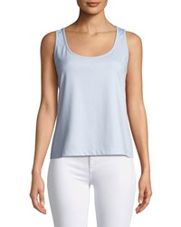 Grayse Scoop Neck Boxy Tank Blue