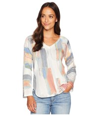 Nally And Millie V Neck Long Sleeve Brush Stroke Print Top Multi Clothing