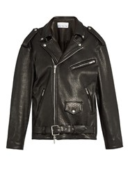 Raey Oversized Tumbled Leather Biker Jacket Black