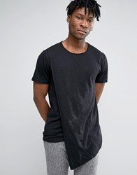 Only And Sons Longline T Shirt With Asymetric Drape Black