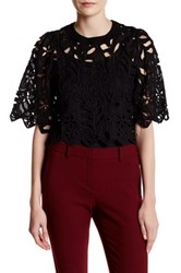 Gracia Leaf And Flower Punched Blouse Black