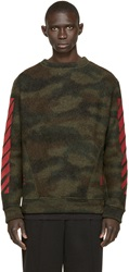 Off White Green Camouflage Pullover