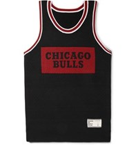 The Elder Statesman Nba Bulls Intarsia Cashmere And Silk Blend Tank Top Black