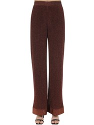 M Missoni Flared Lurex Viscose Knit Pants Bronze