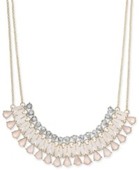 Inc International Concepts Gold Tone Multi Stone Statement Necklace 19 3 Extender Created For Macy's Pink