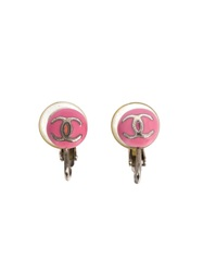 Chanel Vintage Enamel Logo Round Earrings Pink And Purple