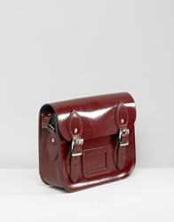 Leather Satchel Company The Mini Patent Oxblood Red