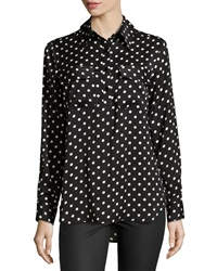 Neiman Marcus Polka Dot Long Sleeve Blouse Black White