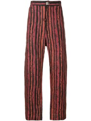 Martine Rose Striped Straight Trousers Black