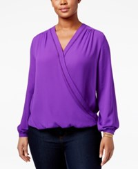 Inc International Concepts Plus Size Surplice Top Only At Macy's Vivid Purple