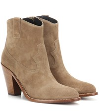 Saint Laurent Curtis 80 Suede Ankle Boots Brown