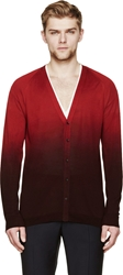 Burberry Red And Burgundy Degrad Silk Cardigan