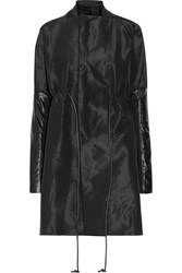 Rick Owens Leather Trimmed Faille Coat Black