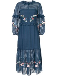 Vilshenko Floral Embroidered Frill Trim Dress Blue