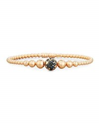 Riviere And Co. Graduated 18K Rose Gold Bead Bracelet With Black Diamonds