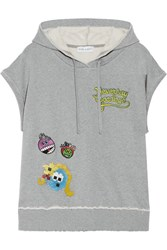 Mira Mikati Never Grow Up Embellished Appliqued Cotton Jersey Hooded Top Gray