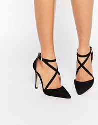 Miss Kg Shelby Cross Strap Point Heeled Shoes Black Suedette