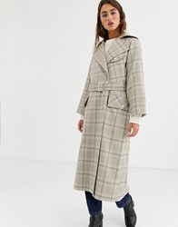 Topshop Trench Coat In Check Multi