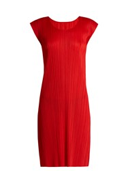 Issey Miyake Sleeveless Pleated Dress Red