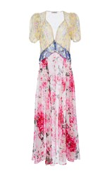 Attico Natalia Mix Georgette Flower Printed Dress
