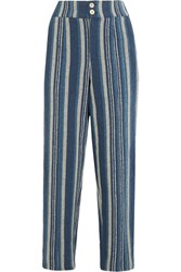 Chloe Striped Cotton Blend Straight Leg Pants Blue