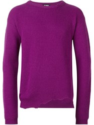 Raf Simons Frayed Hem Sweater Pink And Purple