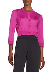 Carolina Herrera Cropped Silk And Cashmere Cardigan Purple