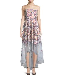 Badgley Mischka Floral Embroidered Strapless High Low Gown Pink