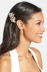 Wedding Belles New York 'Luella' Czech Crystal And Freshwater Pearl Clip Metallic Gold