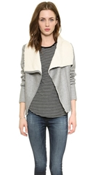 Generation Love Sherpa Moto Jacket Grey Cream