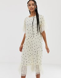 Amy Lynn Short Sleeve Polka Dot Shift Dress With Lace Detail Cream