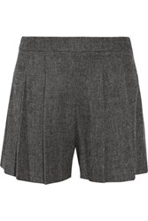 Alice Olivia Pleated Boucle Shorts Charcoal
