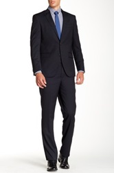 Kenneth Cole Reaction Navy Pinstripe Two Button Notch Lapel Wool Suit Blue