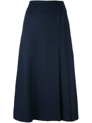 Odeeh Side Pleat Midi Skirt Blue
