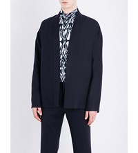 Etro Open Front Linen And Wool Blend Kimono Jacket Black