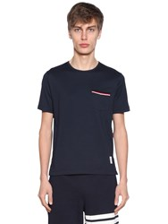 Thom Browne Striped Pocket Cotton Jersey T Shirt Navy